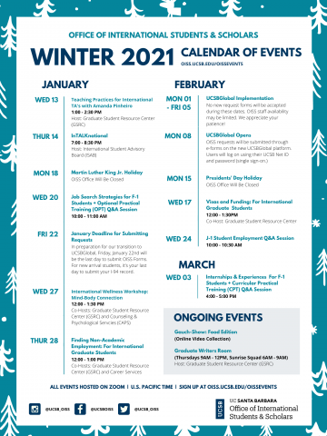 Ucsb Calendar 2021 Events | UCSB Office Of International Students & Scholars